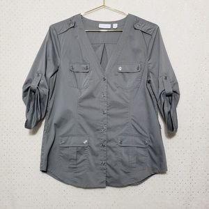 Gray*Military Style Button Up*NWOT*NY & Co.*Sz M*
